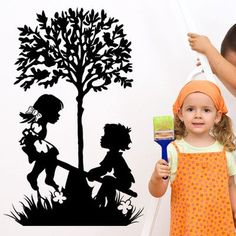 "Style and Apply Playing Kids Wall Decal Size: 71"" H x 46"" W, Color: Yellow"