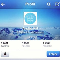 We are proud to finally have reached 1.000 followers on Twitter. We would love it if you checked out our Twitter: www.twitter.com/ArcticPR :)