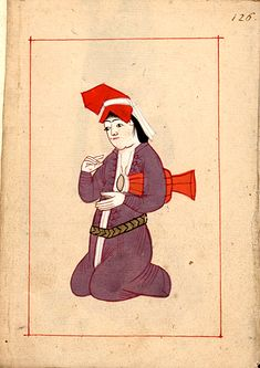 Woman drummer  with a dümbelek.   Claes Rålamb (8 May 1622 – 14 March 1698) was a Swedish statesman. The 'Rålamb Costume Book' is a small volume containing 121 miniatures in Indian ink with gouache and some gilding, displaying Turkish officials, occupations and folk types. They were acquired in Constantinople in 1657-58 by Claes Rålamb who led a Swedish embassy to the Sublime Porte, and arrived in the Swedish Royal Library / Manuscript Department in 1886.