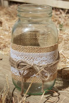 Lace & Burlap Mason Jar Candle Holder Quart by BlakeWaresDesigns, $10.00
