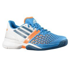 Adidas Men's adidas CC adizero Feather III Tennis D(M) US-Solar Blue/ Tribe Blue/ Running White. Name Brand Tennis Shoes sold by the Tennis Company. Zapatillas Running Adidas, Adidas Men, Adidas Sneakers, Badminton Shirt, Sports Footwear, Racquet Sports, 5 D, Sneakers Fashion, Skateboard