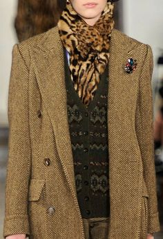 Tweed - check; Animal print - check; fair isle vest -  check;  All systems go for a great fall look. Ralph doing what Ralph does best.