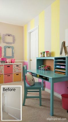 Girls Bedroom Decor Idea and How to Paint an Accent Wall with Stripes - Pink Yellow Blue - DIY Inspired Blue Teen Girl Bedroom, Teen Girl Bedrooms, Girl Room, Girl Nursery, Bedroom Yellow, Bedroom Brown, Bedroom Wall, Diy Bedroom Decor, Home Decor