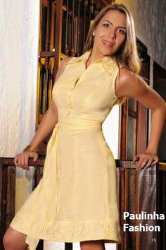 Vestido en lino con pequeños bordados a máquina Bermuda Shorts Women, Women's, Linen Blouse, Linen Dresses, Chic Outfits, Short Dresses, Sewing Techniques, Feminine Fashion, Needlepoint