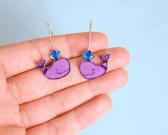 Whales earrings by lacravatteduchien on Etsy, €15.00