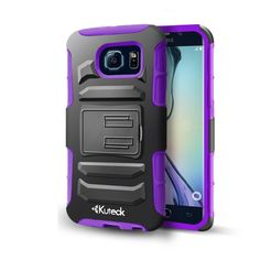 Samsung Galaxy S6 Hybrid Box Case Cover Belt Clip With Card Holder Purple