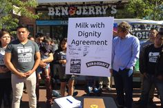 "Ben & Jerry's signed a ""Milk with Dignity"" agreement with Migrant Justice to bring fair working conditions to Vermont's dairy industry. Ice Cream Companies, Food Policy, Workers Rights, Sustainable Food, Ben And Jerrys, Vermont, Agriculture, Farms, Wisconsin"