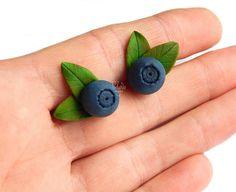 Blueberry Earrings Stud   Blue Stud Earrings  Eco rustic