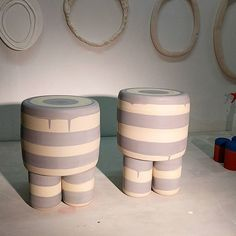 A couple of custom gray stools just popped out of the kiln via workadayhandmade