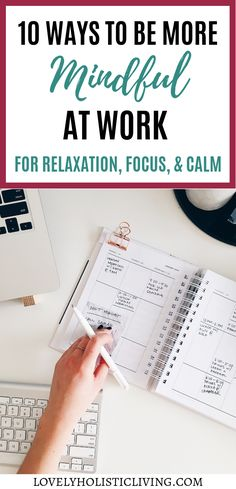 10 ways to be more mindful at work for relaxation, focus, and calm. Find out the mindfulness techniques that keep me centered all day long without stress! Mindfulness At Work, Guided Mindfulness Meditation, Mindfulness Exercises, Mindfulness Activities, Meditation Music, Mindfulness Techniques, Relaxation Techniques, Meaningful Sentences, Focus At Work