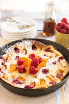 This apricot raspberry dutch baby pancake is perfect for breakfast or brunch. The giant pancake bakes in the oven, no flipping required!