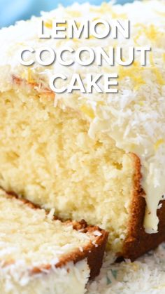 Quick and easy Lemon Cake recipe topped with homemade cream cheese frosting and coconut! This is the perfect spring dessert or great for an Easter dessert! recipe for angel food cake Easy Lemon Coconut Cake! Irish Desserts, Easy Desserts, Delicious Desserts, Coconut Desserts, Irish Recipes, Hawaiian Desserts, Desserts With Ricotta Cheese, Carribean Desserts, Eggless Desserts