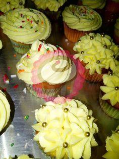 Vanilla cupcakes, buttercream and sparkles. #PopCake