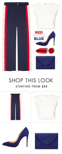"""""""Red, White And Blue"""" by melaniemeran ❤ liked on Polyvore featuring Gucci, Puma, Christian Louboutin and Rodin"""