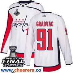 Washington Capitals  91 Tyler Graovac White Stitched Adidas NHL Away Men s  Jersey with 2018 Stanley 12efdb2aa