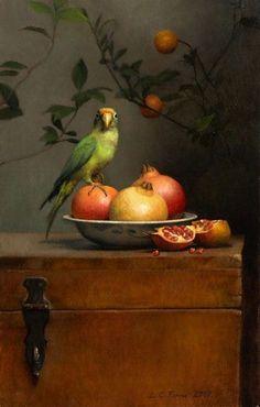 유 Still Life Brushstrokes 유 Nature Morte Painting by Ann Long | Still life with Parrot and Pomegranates