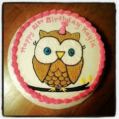 Girl Owl Birthday Cake