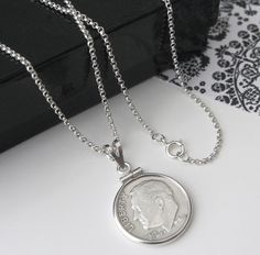 Vintage 1964 Silver Coin Pendant w/ 925 Sterling Silver Chain Necklace  http://stores.ebay.com/The-Rolling-Wave