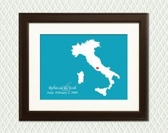 WEDDING GIFT - Personalized Italy Map with a heart for an engagement, wedding, honeymoon, or anniversary gift. Eg. Rome, Florence, Venice
