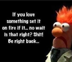Beaker - If you love something set it on fire. If it ... no, wait. Is that right? Shit! Be right back...