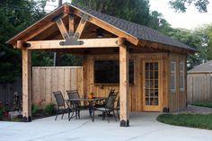 Pergola To House Attachment Info: 5979026295 Backyard Pavilion, Backyard Bar, Backyard Sheds, Backyard Patio Designs, Backyard Cabana, Outdoor Pavilion, Pool Gazebo, Pool Cabana, Pool House Shed