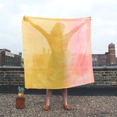 #Colorblocks Scarf by Martha MeQuade: Hand dyed in coral and gold. #Scarf #Martha_McQuade    Please visit my blog for more cool stuff!    Also Please Repin Thanks!