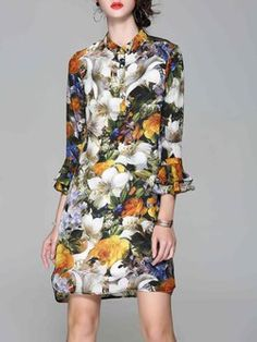Multicolor Silk Floral-print Frill Sleeve Midi Dress