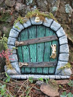 fairy door by whimsical fairy garden Fairy Garden Doors, Fairy Garden Houses, Gnome Garden, Fairy Gardens, Fairy Doors On Trees, Diy Fairy Door, Fairy Tree Houses, Magic Garden, Garden Art