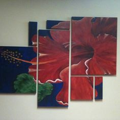 Red hibiscus. 7 canvases <3