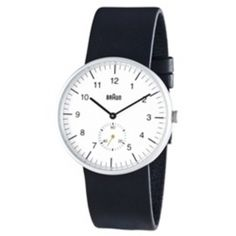 Buy Men's Analog Watch - White Face, Black Leather Band from Braun. After a hiatus of many years, Braun watches and clocks are back in production in Best Watches For Men, Cool Watches, Wrist Watches, Simple Watches, Fine Watches, Men's Watches, Luxury Watches, Things To Sell, Accessories