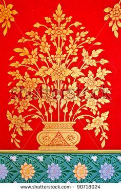 stock photo : thai art on the wall of church. Flower Canvas, Flower Art, Diy Canvas, Canvas Art, Thai Pattern, Kindergarten Art Projects, Thai Art, Diy Painting, Painting Flowers