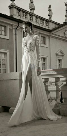 Deep V-neck Low Back Long Sleeve Lace Wedding Dress 2014 Sexy Backless High Slit Bridal Dress Gowns