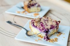 GF Blueberry Cream Cheese Coffee Cake - Can't even tell they're GF, awesome! Split milk amount with sour cream and milk.