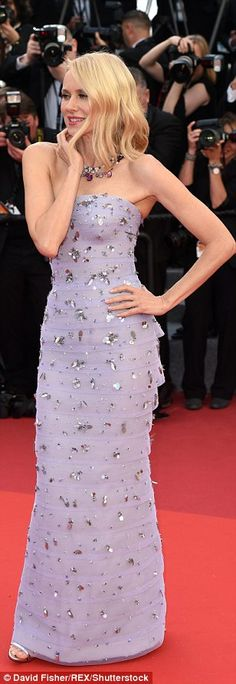 Work it! Looking absolutely drop-dead gorgeous in pale lilac, Australian star Naomi, 47, cut a divine figure in a strapless column dress