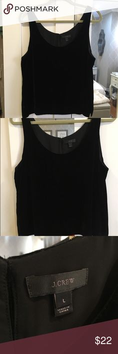 J.Crew Velvet Tank J.Crew black velvet tank in size large. In great condition only worn once. NO Trades. J. Crew Tops Tank Tops