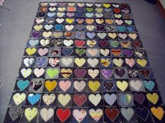 heart denim recycled quilt
