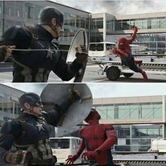 """I can just see spidey going """"guys captain America just whacked me in the face! Marvel Fan, Marvel Heroes, Marvel Avengers, Dc Movies, Marvel Movies, Avengers Shield, Captain America Civil War, Marvel Cinematic Universe, Spiderman"""