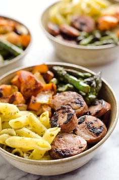 Roasted Veggie & Chicken Sausage Penne Bowls are a healthy gluten free dinner recipe bursting with bold flavors and wholesome ingredients.