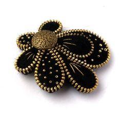 cool Unusual Zipper Brooch,Flower  of Felt, Zipper Jewelry, Black & Gold Handmade Brooch with Button