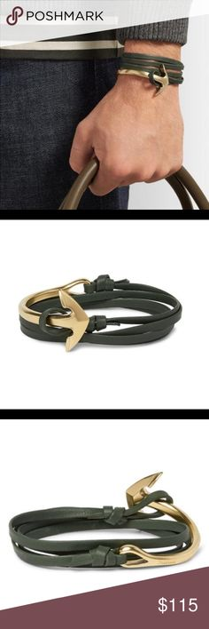 Miansai gold half anchor green leather bracelet Miansai Half Anchor Leather Wrap Bracelet - Military Olive Green New. Never Worn. With Tag and Original Packaging. MSRP: $145 Miansai Accessories Jewelry