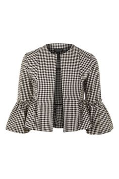Gingham Crop Frill Jacket