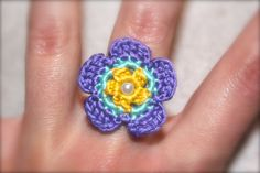 Crochet Daisy Ring Purple Yellow and Blue by CatWomanCrafts, $6.00