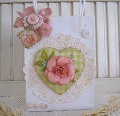 Shabby Pink Handmade Rose Flower Vintage style mini gift bag. $4.49, via Etsy.