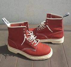 Dr. Martens Red Men's Tectuff Leather 8 Eye Boots 13450 Size 9 UK
