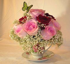 A Dainty Teacup Flower Arrangement by Judy Babb, via Flickr
