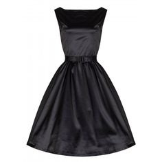 'Audrey' Black Satin Prom Dress ($34) ❤ liked on Polyvore featuring dresses, black, sheath cocktail dress, black flared skirt, black satin cocktail dress, satin dress and circle skirt