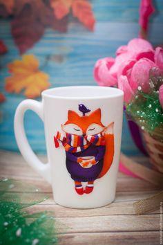 """Купить Кружка """"Лисичка"""" - красный, белый, оранжевый, фиолетовый, полимерная глина, лисичка, fox"""