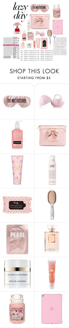 """""""Beauty product lazy day"""" by giannagia ❤ liked on Polyvore featuring BaubleBar, Eos, Ted Baker, Tory Burch, philosophy, Goody, Lapcos, Chanel, Kevyn Aucoin and Lancôme"""