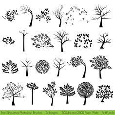 Tree Silhouettes Photoshop Brushes  Commercial and by PinkPueblo, $8.00
