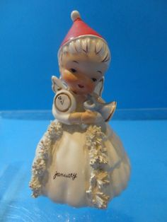 Vintage 1956 Napco 'JANUARY' Angel New Year's BELL of the Month figurine